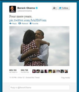 Most retweeted tweet ever - Obama's re-election